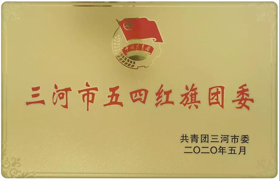 """我团委荣获""""三河市五四红旗团委"""""""